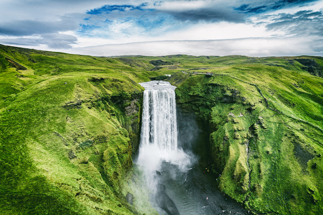 Skogafoss waterfall during a visit to Iceland in August