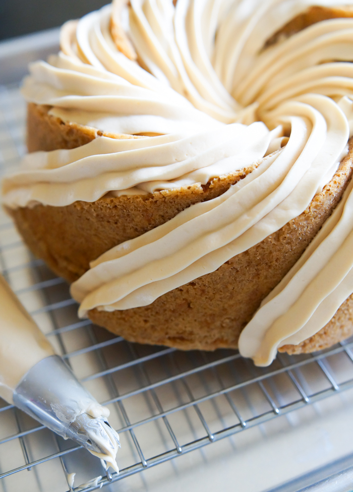 Carrot Bundt Cake with Salted Caramel Cream Cheese Frosting ♥ bakeat350.net
