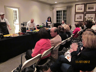 Chef Carlo deMarco of 333 Belrose shows the audience at the Athertyn Clubhouse how to to prepare some innovative healthy fall dishes