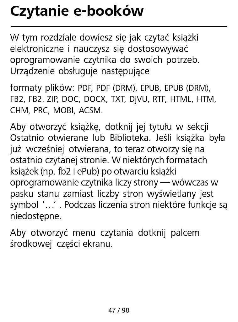 PocketBook Aqua 2 – fragment instrukcji czytnika w trybie reflow