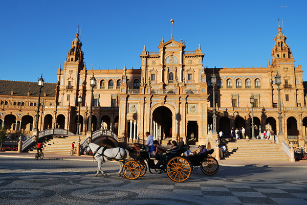 plaza españa seville spain horse carriage