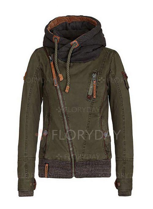 Long Sleeve Hooded Zipper Pockets Jackets