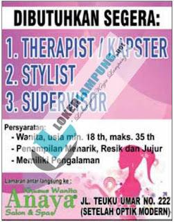 Lowongan Kerja Terbaru September 2016 Dari Anaya Salon & SPA Bandar Lampung