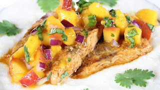 CHILI LIME SALMON WITH MANGO PEACH SALSA AND GRITS