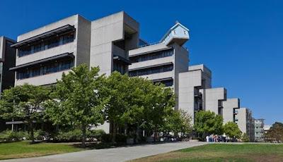 Ada Rumah Biru Nyangkut di Atap Universitas California