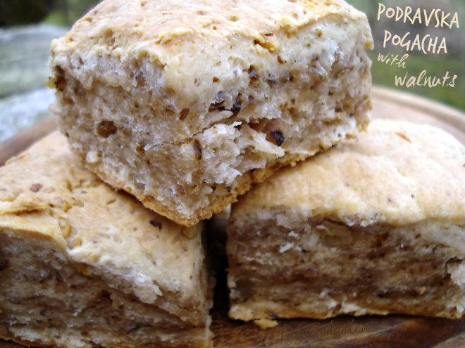 Podravska pogacha with walnuts by Laka kuharica: simple and satisfying flat-bread typical for Northwest Croatia.