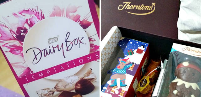 A box of Dairy box chocolate and a Thorntons chocolate hamper