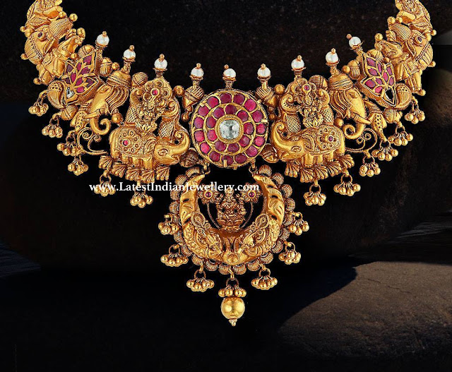 Elephant Motifs Lakshmi Necklace