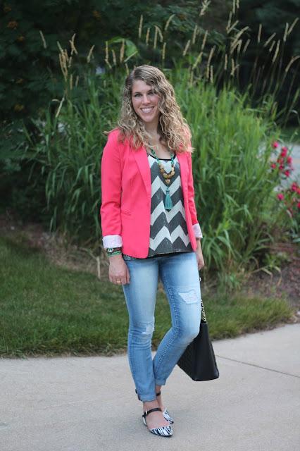 sequined chevron tank, coral blazer, distressed jeans, black tote