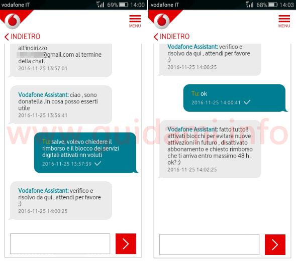 App My Vodafone chat con operatore per chiedere rimborso, disattivazione e blocco dei servizi digitali