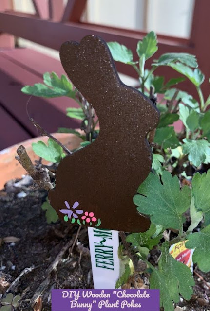 Chocolate bunny plant poke for Easter