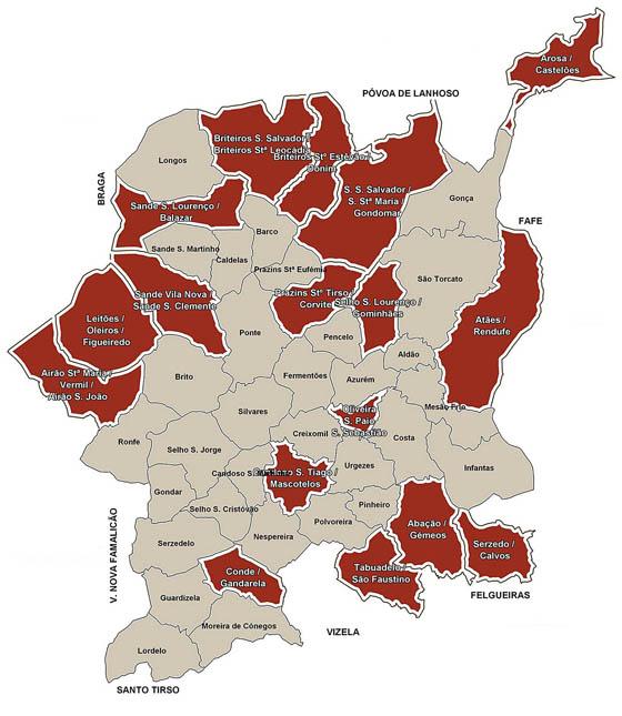 mapa de guimarães freguesias Plano Claro: Novo mapa concelho Guimarães mapa de guimarães freguesias