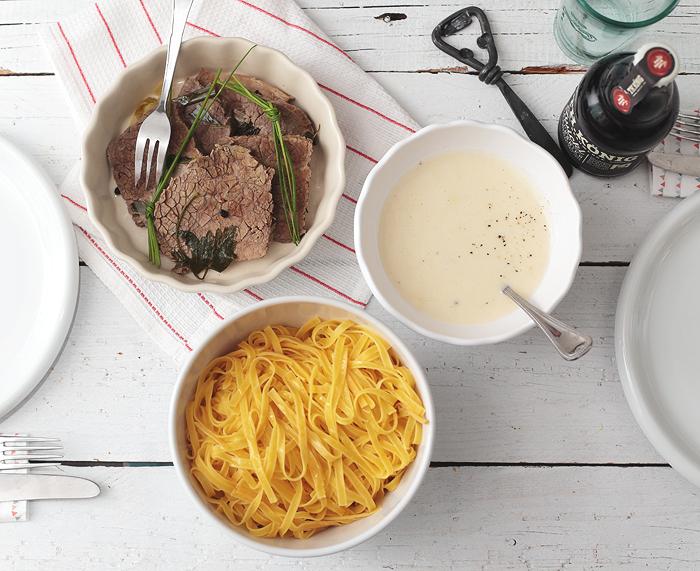 Rindfleisch mit Meerrettich Kree Nudeln fränkisch Heimatküche