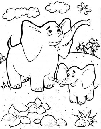 Tranh tô màu hai mẹ con voi
