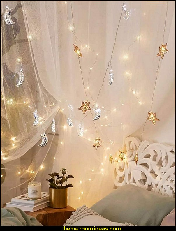 moon stars string lights  galaxy-theme-room-bedroom-decor-celestial-moon-stars-decorating-ideas-bed-themed-decorations-parties-space