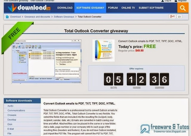 Offre promotionnelle : Total Outlook Converter gratuit !