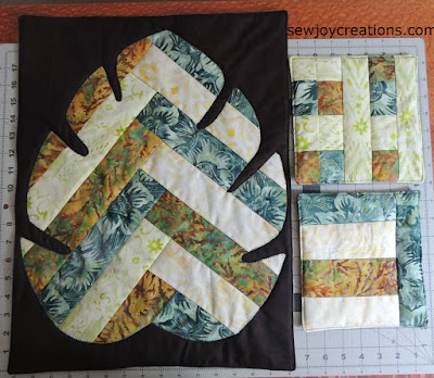 batik table topper and potholders