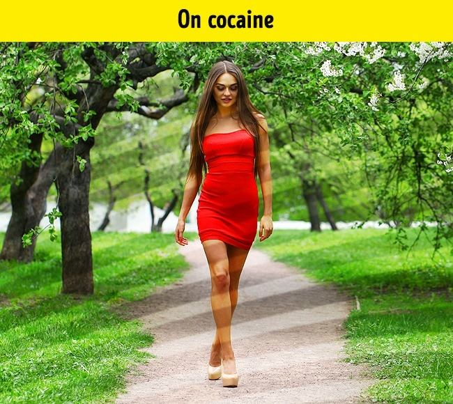 When a person takes cocaine, the images are more full, bright, and slightly shifted.