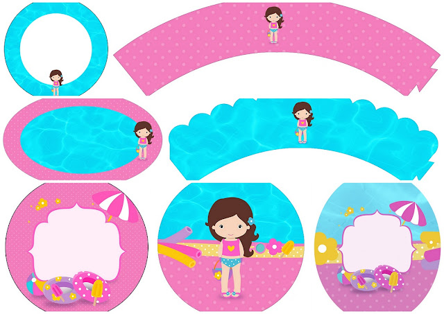 Brunette Girl Pool Party: Free Printable Wrappers and Toppers for Cupcakes.