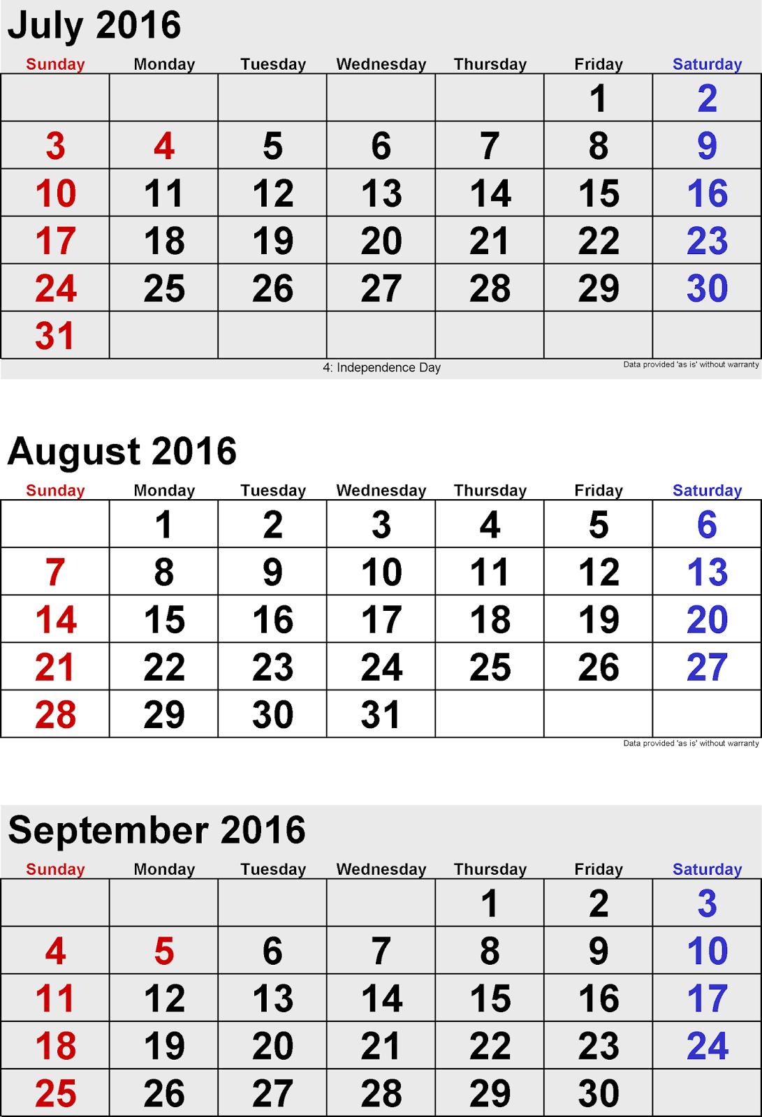 photograph regarding 3 Month Printable Calendar named July August Sept 3 Weeks Printable Calendar 2016