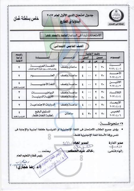 جدول امتحانات الصف الخامس الإبتدائي لابناؤنا في الخارج 2017 عمان