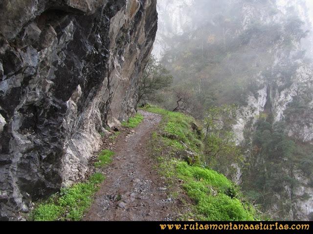 Ruta de las Xanas y Senda de Valdolayés: Senda sobre los paredones