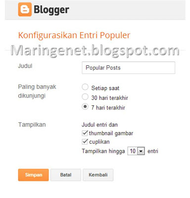 Mengatur Popular Post di Blogspot