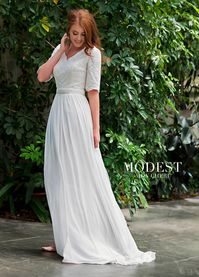7cbc10692e57 Modest by Mon Cheri Spring 2018 beaded lace A-line bridal gown with  scalloped elbow