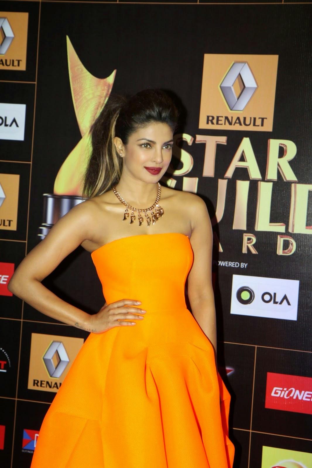Priyanka Chopra Orange Strapless Dress at the Star Guild Awards 2015