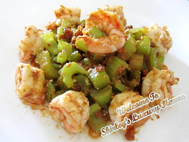 yummy happy call pan spicy celery prawns recipe