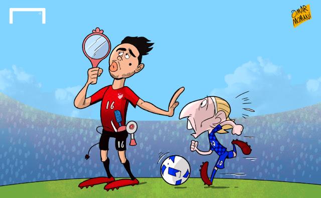 Ozan Tufan and Modric cartoon