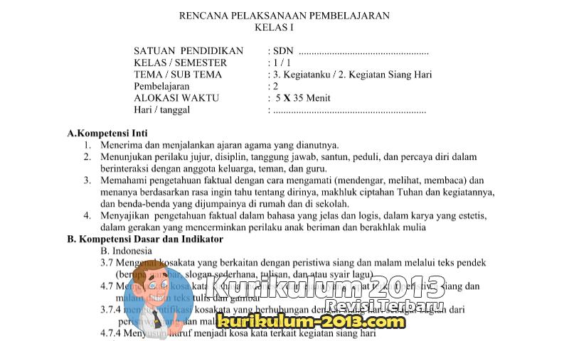 Download RPPKelas 1 Tema 3 Sub Tema 2 Pembelajaran 2
