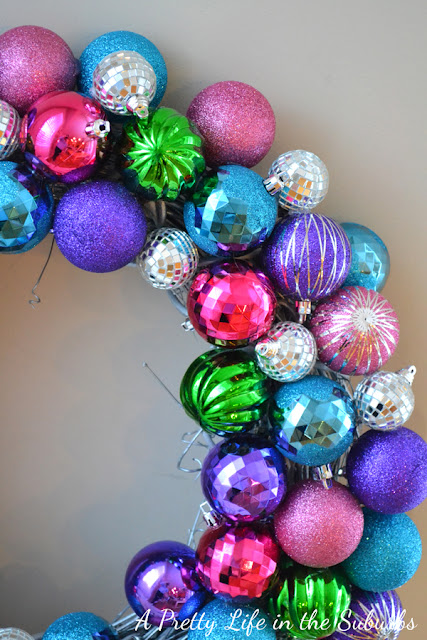 Sparkly Christmas Ornament Wreath