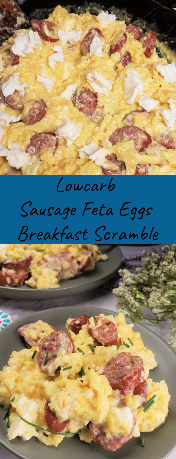 Lowcarb Sausage Feta Eggs Breakfast Scramble