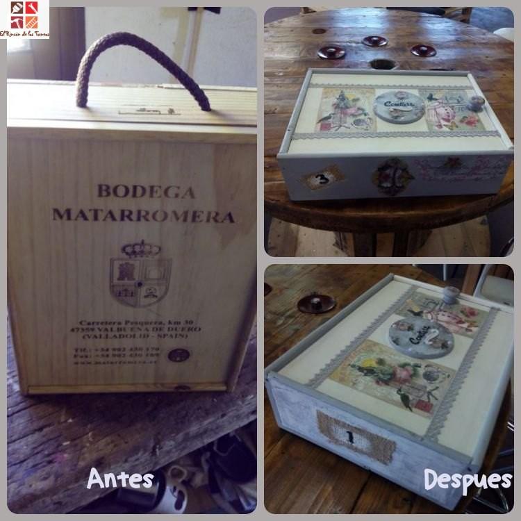 antes y después de una caja de vino