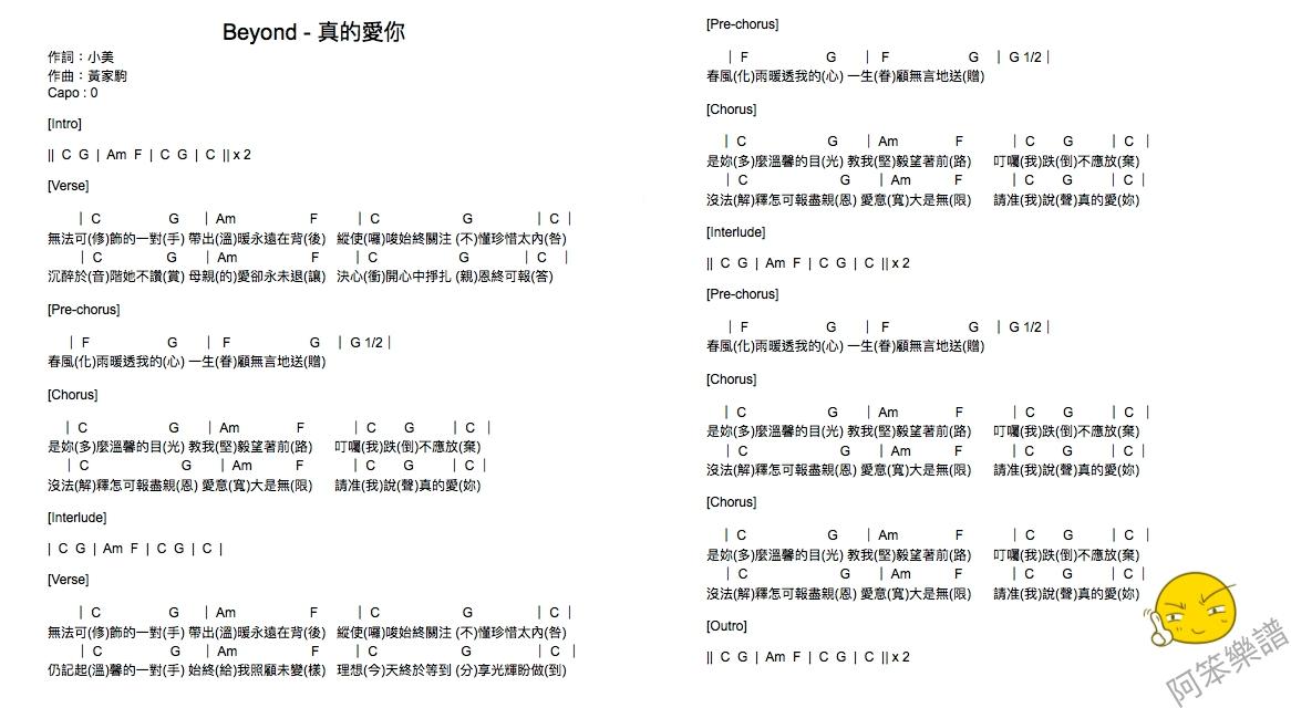 真的愛你 - Beyond - [吉他Chord譜] 阿本日記Arben Daily