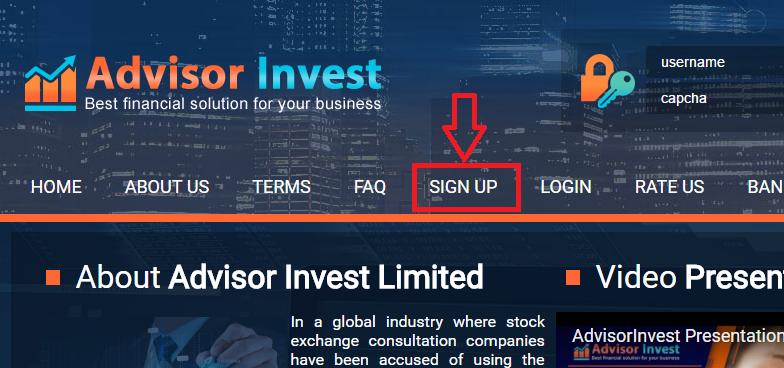 Регистрация в Advisorinvest
