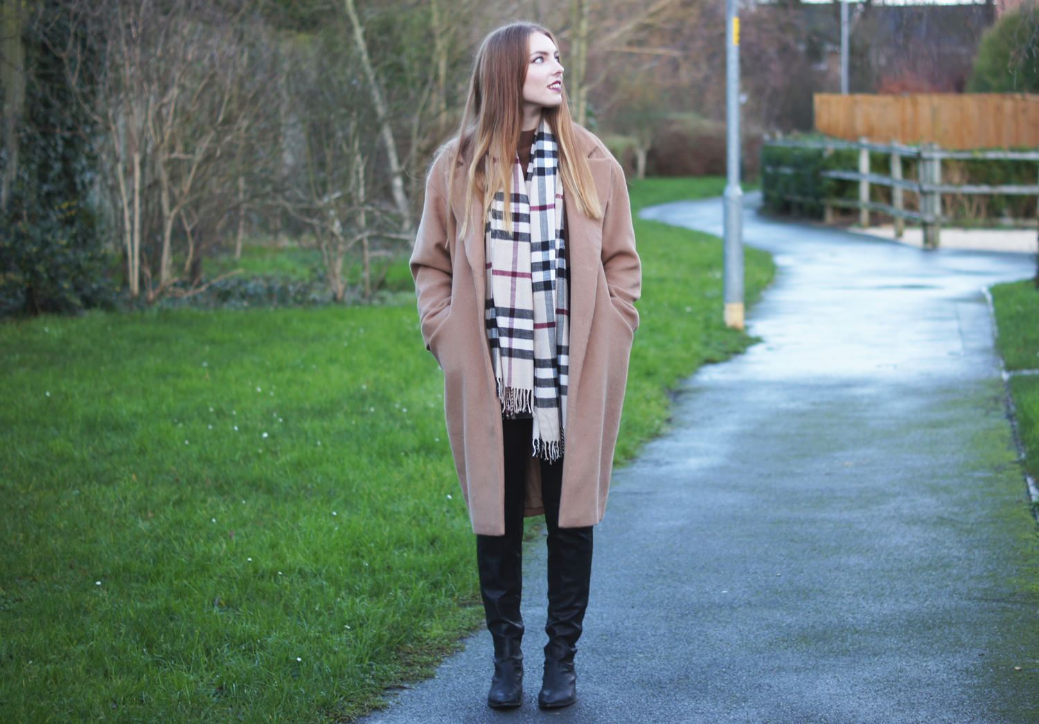 asos camel coat and burberry check scarf