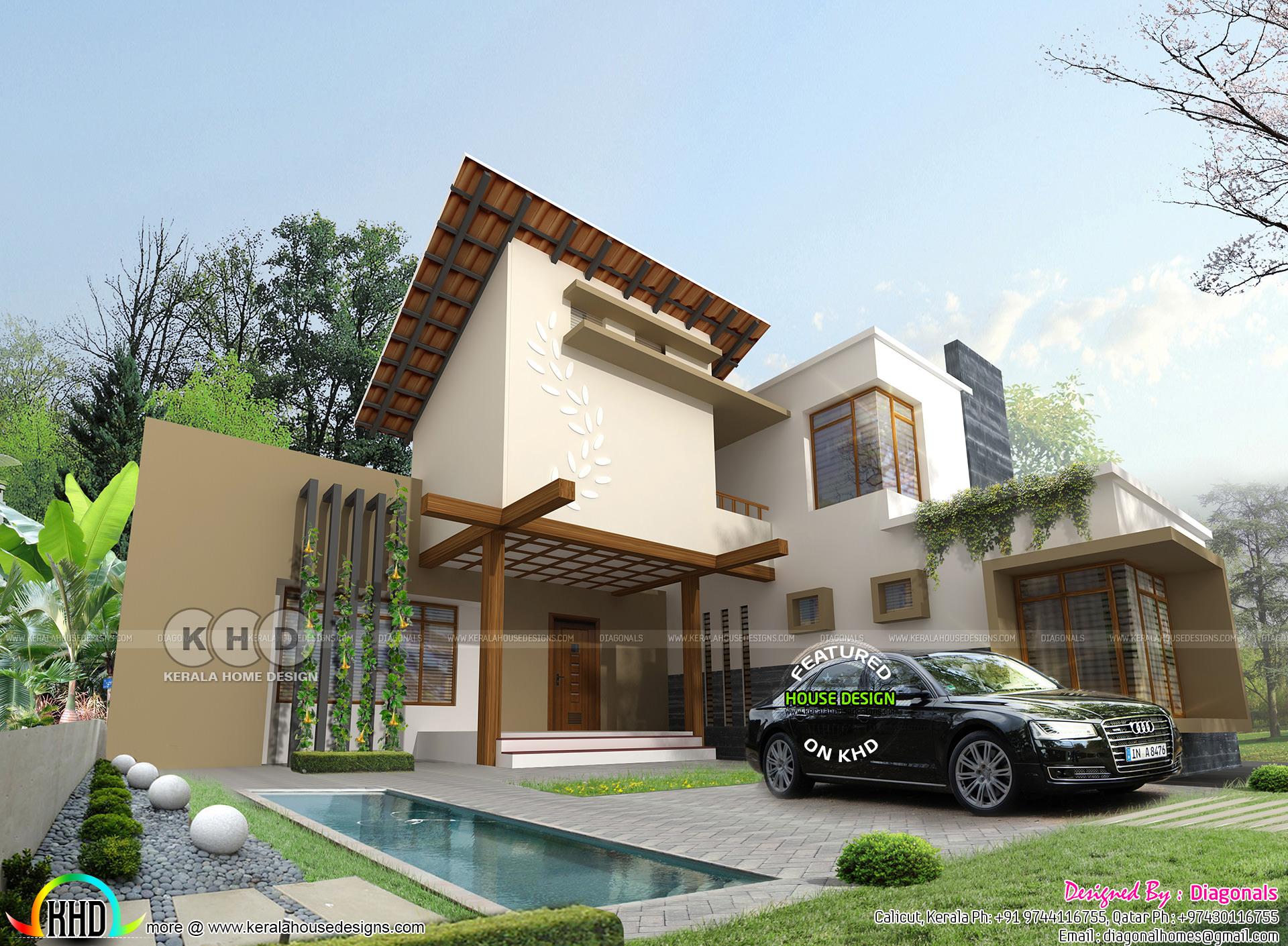 2395 Square Feet 4 Bedroom Ultra Modern Home Kerala Home
