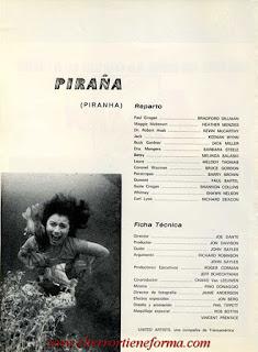 Guía Publicitaria de Cb Films de la película 'Piraña' Pag. 1