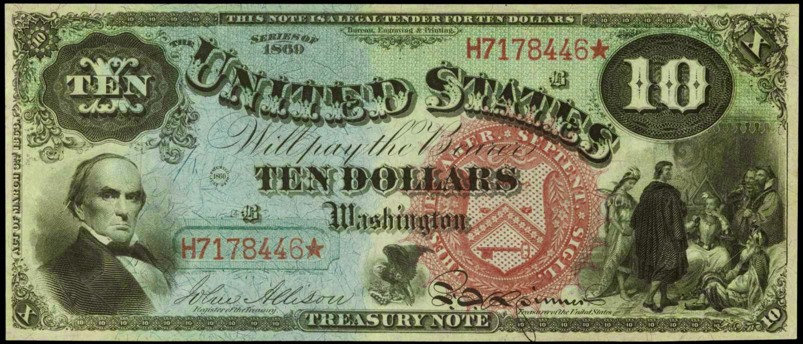 1869 10 Dollar bill note Rainbow Jackass