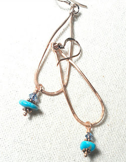 Copper Loop Earrings with Turquoise for Friendship at Just A Tish Designs on Etsy