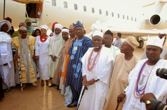 3 Alaafin Of Oyo And His Wives Fly Private Jet To Bauchi (Photos)