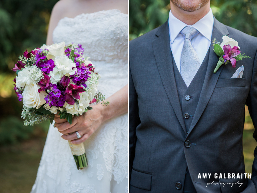 closeups of bride's purple bouquet and groom's purple boutonniere