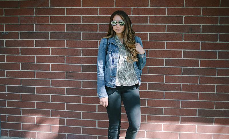 aviator sunglasses, black paige jeans, brunette balayage