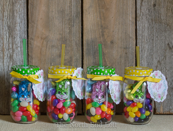 The north end loft easy easter mason jar gifts when i went to our local drug store to buy some easter candy last week i found some cute mason jar drink containers with straws in the dollar aisle negle Image collections