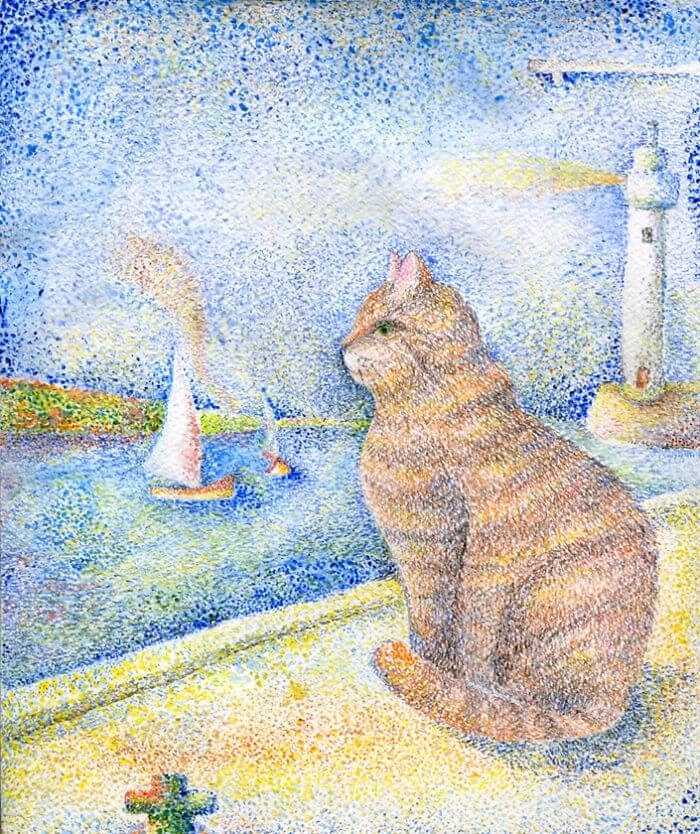 03-Inspired-By-Impressionists-Veselka-Velinova-Paintings-of-12-Cats-in-Different-Art-Styles-www-designstack-co
