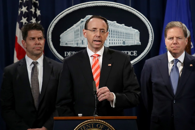 Image Attribute: U.S. Deputy Attorney General Rod Rosenstein speaks at a press conference at the Department of Justice on Friday announcing the indictment against nine Iranians. | Source: Reuters