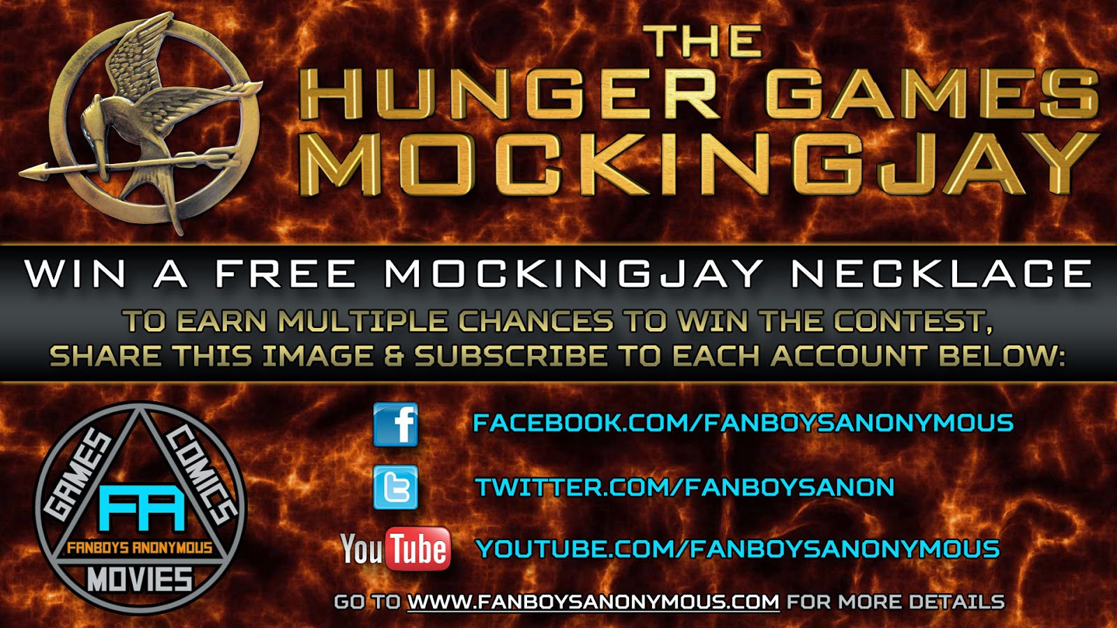 win a free Hunger Games Mockingjay necklace by subscribing to Fanboys Anonymous