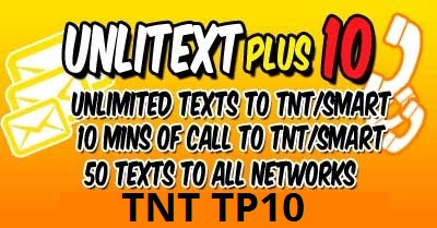 TNT TP10 : UnliText and 10mins Calls to TNT/Smart/Sun Cellular + 50 All-Net Texts